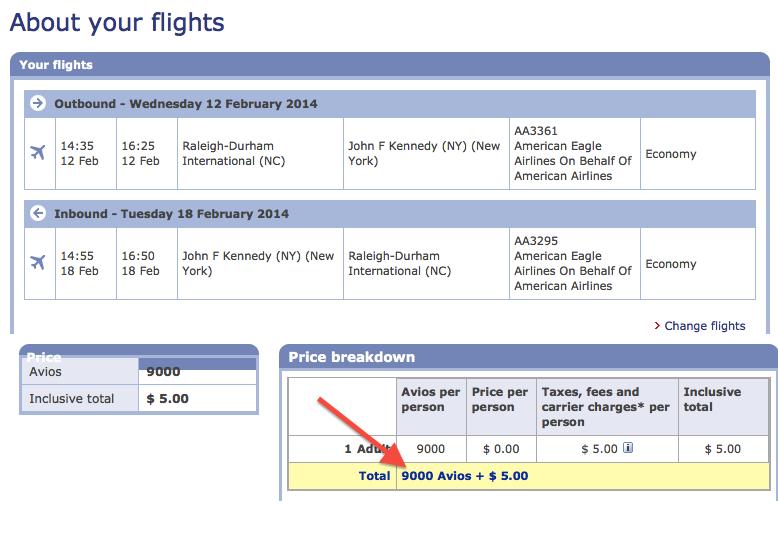 Booking RDU-JFK Flights on American with British Airways Miles