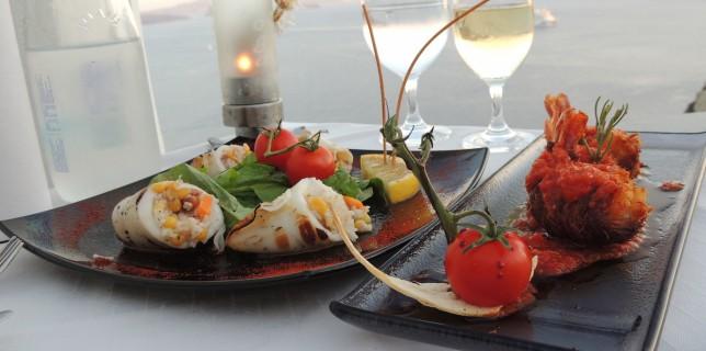Floga Santorini - Shrimp Caldera and Stuffed Calamari