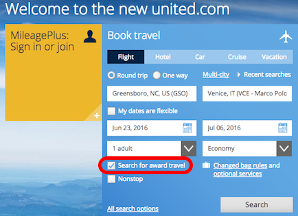 Award Search on United Airlines