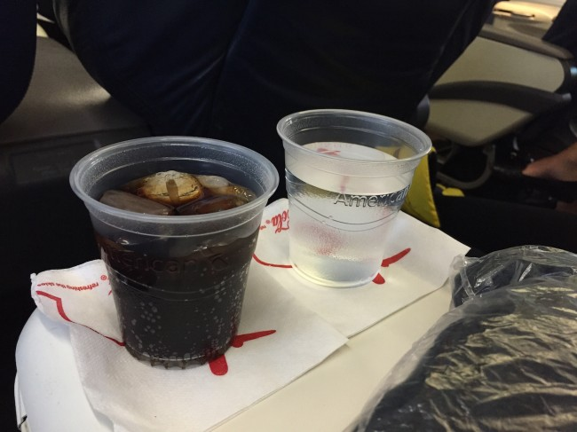 American Airlines First Class Pre-Departure Beverage