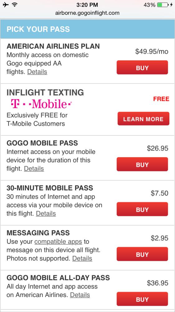 Gogo in flight wifi prices