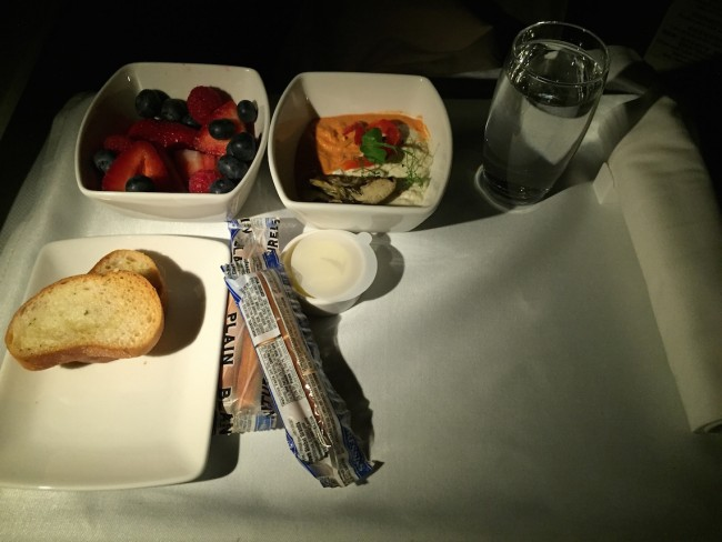 Cathay Pacific Business Class - Breadsticks and Dips