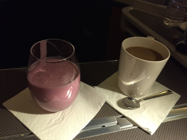 Cathay Pacific Business Class - Mixed Berry Smoothie and Coffee