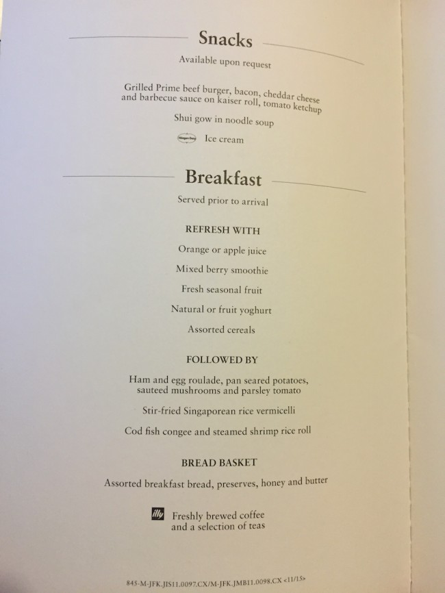 Cathay Pacific Business Class New York to Hong Kong Menu