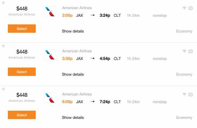Fares for nonstop flights from Jacksonville, FL to Charlotte, NC